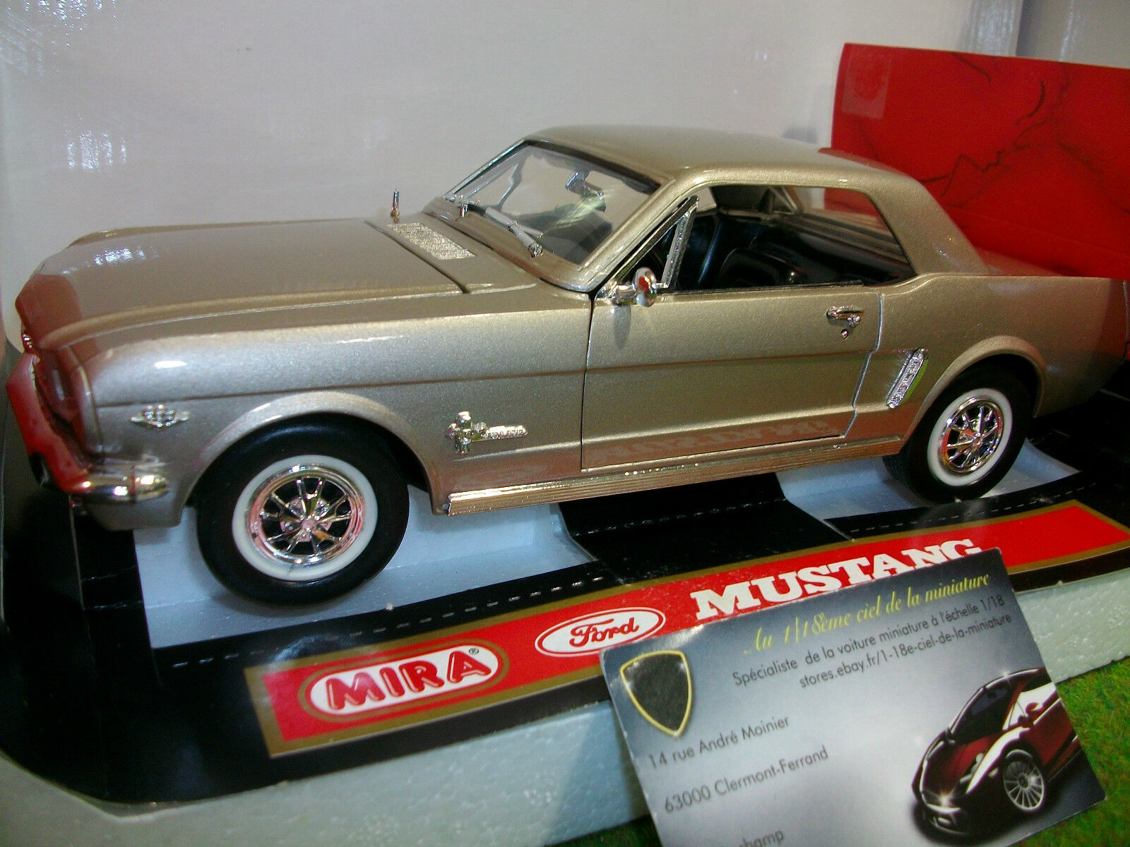 FORD MUSTANG 1964 1 2 COUPE or au  1 18 MIRA 6293 voiture miniature collection  mode classique
