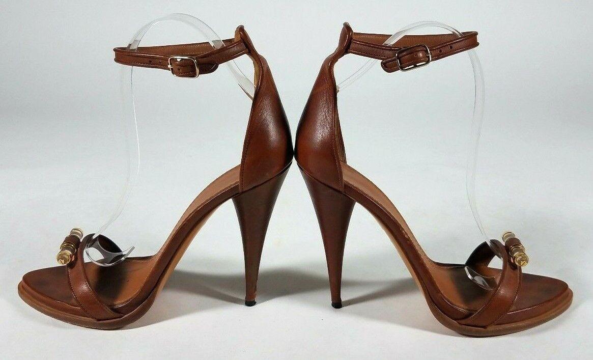 GIVENCHY en cuir marron cristal Toe Cheville Sangle Sandales chaussures-Taille 38.5 8.5