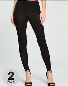 6eff27baa24 By VERY 2 PACK Plus Sizes Womens Ladies Cotton Leggings Black Size ...