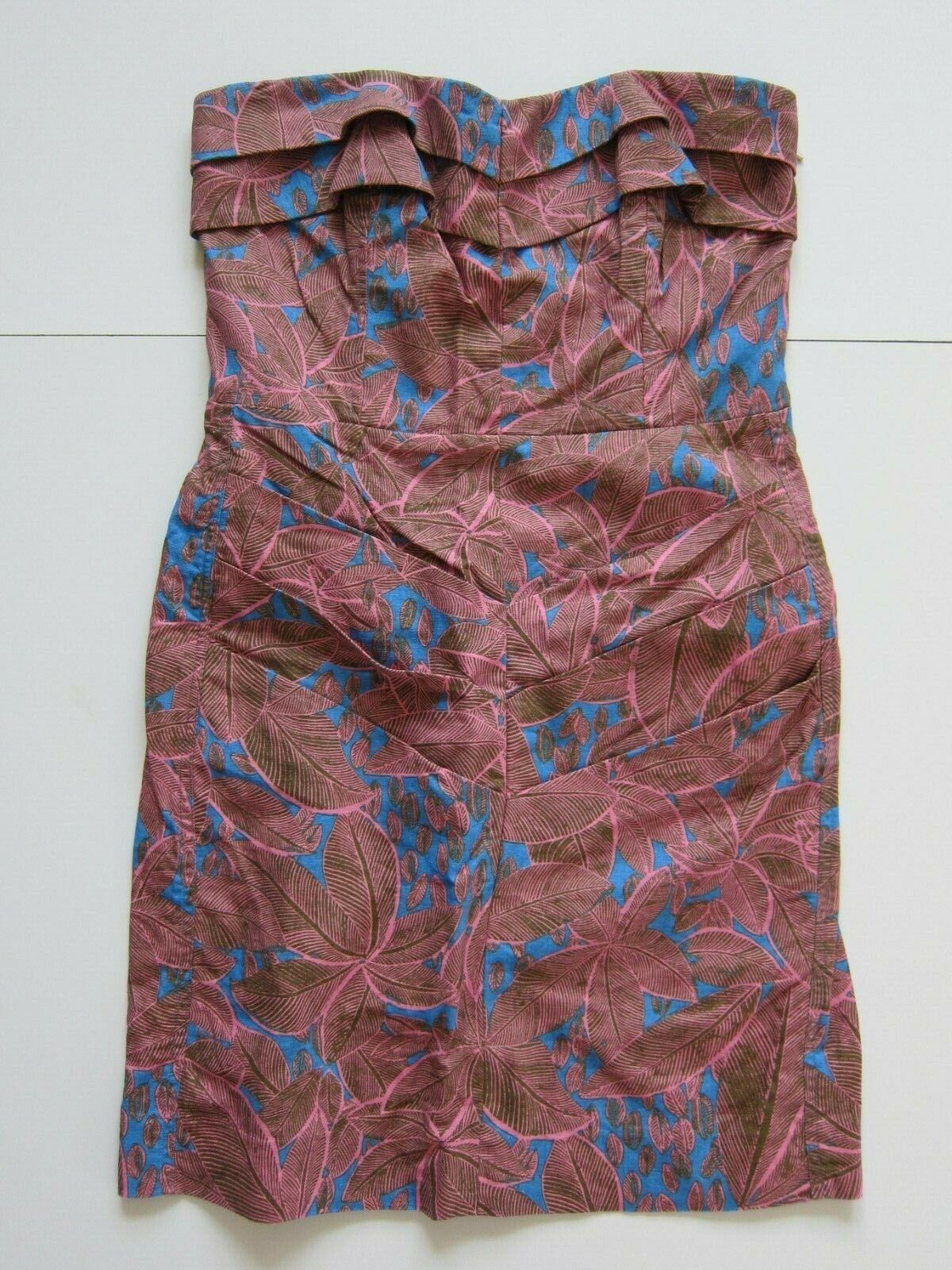 Rachel Roy Pink Linen Cotton Blue Strapless Ruched Cocktail Date Dress Women 6/M