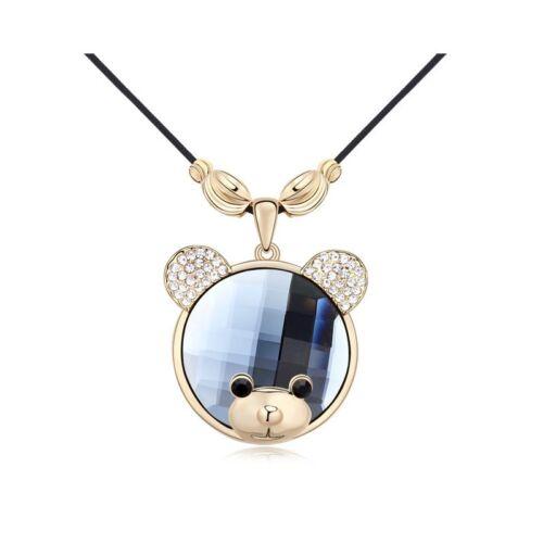 DEPOT TRESOR Collier plaqué or avec pendentif forme nounours avec Cristal Swaro