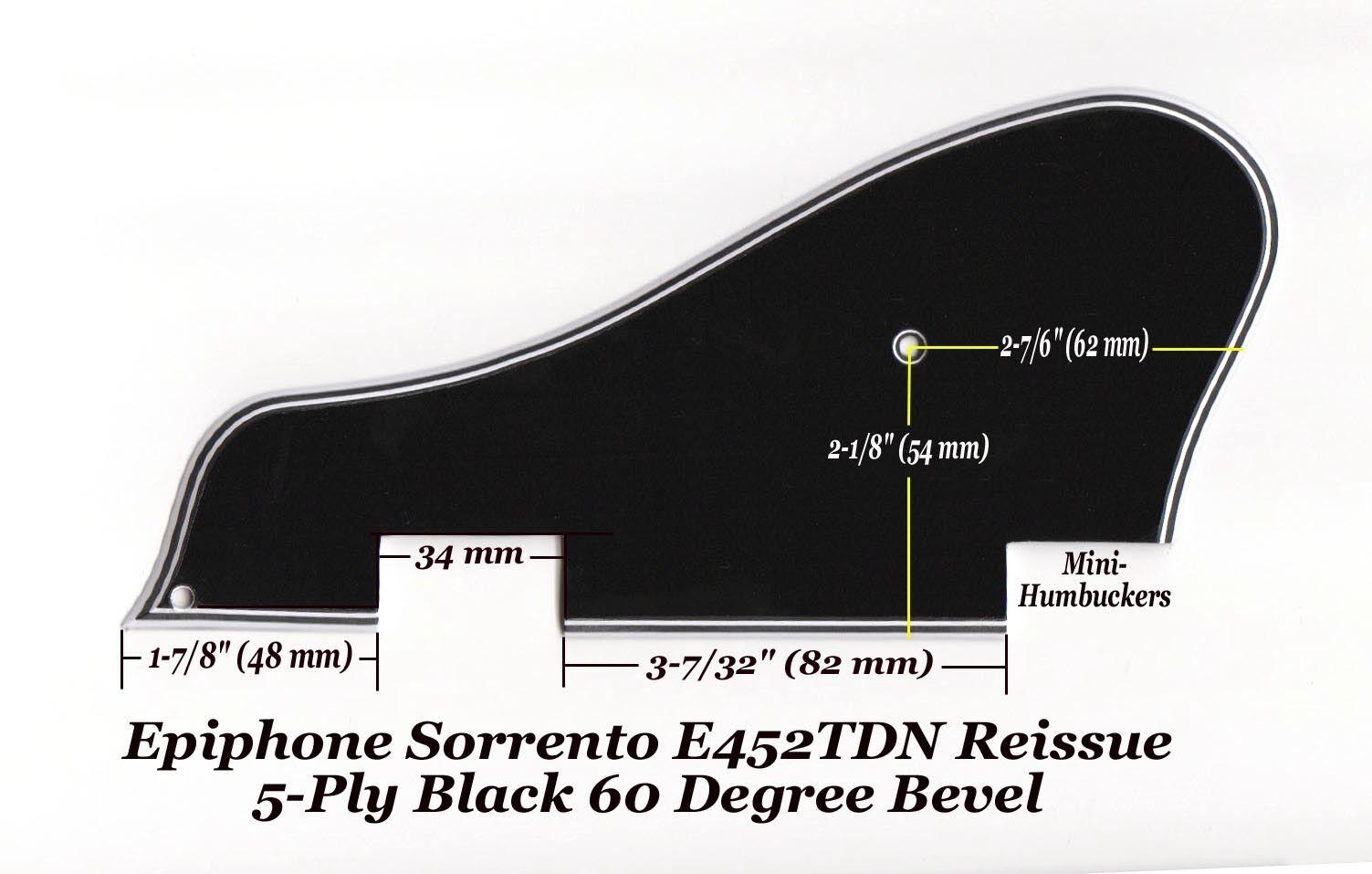 Sorrento E452TDN 5-Ply Blk Mini-HB Pickguard & Bracket for Epiphone Project