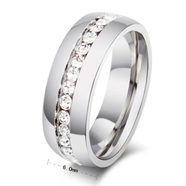 6MM CZ Stainless Steel Engagement Band Men/Womens Wedding Couple Rings Size 4-15