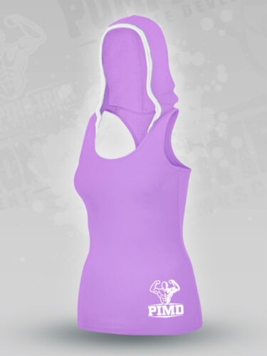 PIMD Women Vest With Hood Purple Running Racer Back Gym Sports Top Workout Yoga