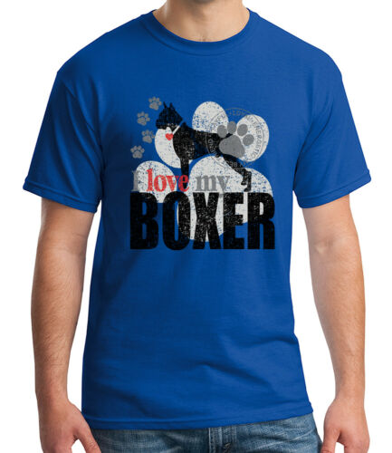 1741C I love my BOXER Adult/'s T-shirt Loyal Energetic Dog Tee for Men