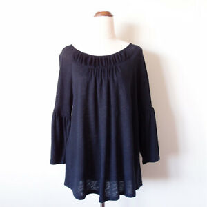 YARRA-TRAIL-Women-Navy-Blue-Ruffle-3-4-Sleeve-Linen-Top-Blouse-Size-S-10-Relaxed