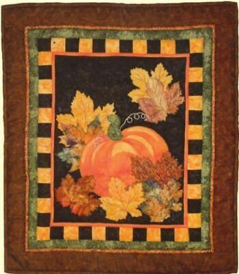 """AUTUMN LEAVES PUMPKIN FALL QUILT Pattern~30/""""x 36/""""~Applique by Hand or Machine"""