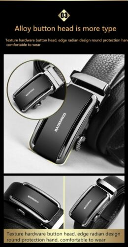 Men's Genuine Leather Ratchet Dress Belt with Auto Buckle Cowhide Soft Leather