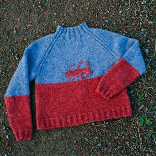 SIZE 2-12 YEARS. KNITTING PATTERN FOR BOYS TRUCK DESIGN JUMPER C23