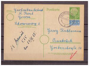 Rfa-Entier-Postal-P-26-Notopfer-Greven-Westf-apres-Osnabruck-21-11-1955