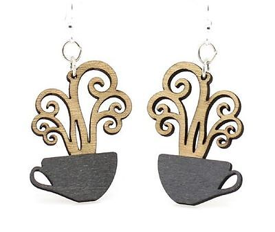 COFFEE CUPS laser-cut wood earrings Green Tree Jewelry BLACK/TAN Made-USA 1309