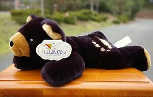 "Wishpets Wyoming 1997 Black Plush Teddy Bear 13"" Long Polyester & Plastic Pellet"