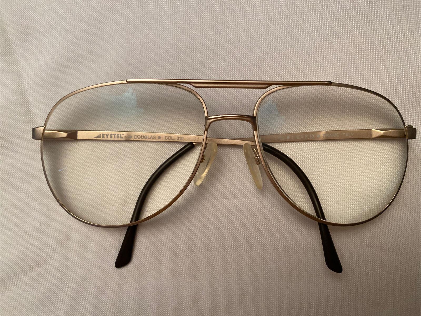 EYETEL VINTAGE DOUGLAS ITALY 1980's RX GLASSES FRAMES w/ ST THOMAS CASE AVIATOR