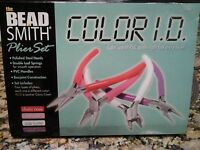 Beadsmith 4 Pc Color Jewelry Plier And Cutter Set W/case Craft Art Tools Beads