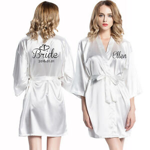 f941b69d80 Image is loading Personalised-robe-Satin-Silk-Dressing-Gown-Wedding-Bride-