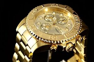 Men-039-s-Invicta-Pro-Diver-18k-GOLD-Plated-SS-Chronograph-Champagne-Dial-695-Watch