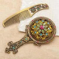 2 PC Filigree Flower Jeweled VANITY SET Comb & Mirror NEW In Box DELUXE Heirloom