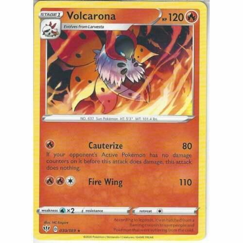 Pokemon 030//189 Volcarona Rare Sword /& Shield Darkness Ablaze Trading Card Game