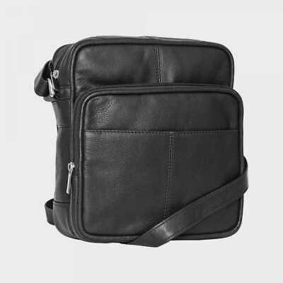 Black Ladies Mens Real Leather Travel Flight Shoulder Cross Body Organiser Handbag Bag