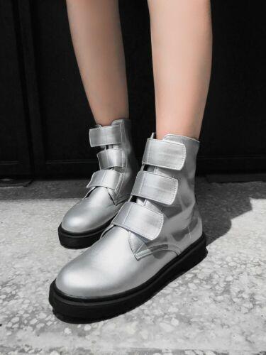 Details about  /Womens Ladies Fashion Magic Stickers Straps Combat Bikers Ankle Boots Shoes IEQ
