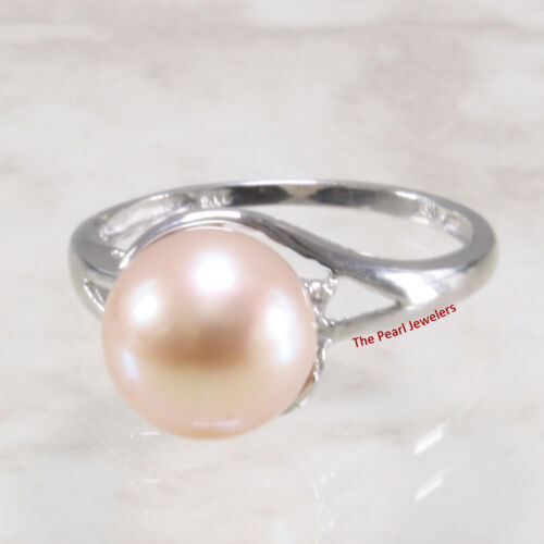 14k Blanc or massif AAA romantique Peach Cultured Pearl Cocktail Bague Diamant TPJ