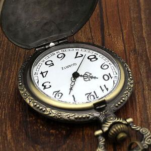 Bronze-vintage-pocket-watch-necklace-pendant-chain-quartz-movement-antique