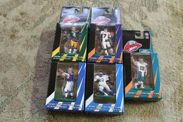 """(5) 1998 Topps """"action Flats"""" Favre Elway Marino Sanders Manning Kickoff Edition"""