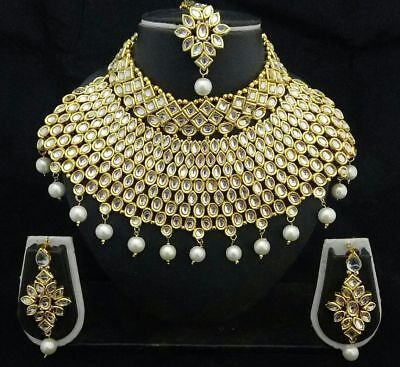 Indian Bridal Wedding Kundan Big Choker Pearl Necklace Earrings