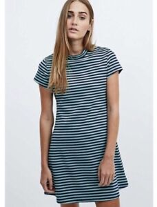 09bbce69d7 Free People Beach Dress Size XS Mint Navy Mod On The Line Striped ...