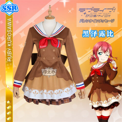 New Love Live Sunshine Aqours Ruby Chocolate Valentine/'s Day Cosplay Costumes