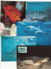 Stamps sea fish official Australia Post maximum card set 5 CAIRNS overprint