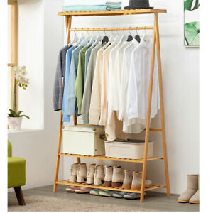 2T-Shoe-Clothing-Storage-Organizer-Shelves-w-Top-Shelf-Coat-Clothes-Hanging-Rack