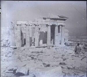Grecia-Atene-Acropoli-Propylaen-Archeologia-Negativo-Foto-Stereo-Placca-Lente