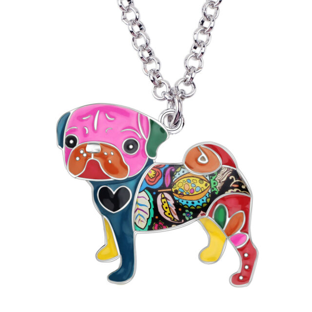 Enamel Alloy Pug Dog Necklace Pendant Choker Pet Design Jewelry For Women Charm