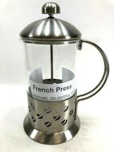 French Press Glass & Stainless Steel Coffee Bean Design with Instructions Modern