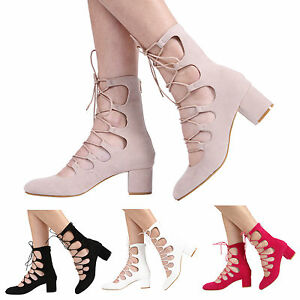 NEW-WOMENS-LADIES-ZIP-UP-MID-BLOCK-HEEL-CUT-OUT-LACE-UP-ANKLE-SANDAL-SHOES-S-3-8