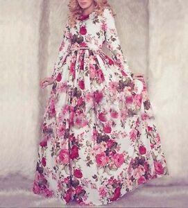 Dubai Muslim Women Islamic Abaya Jilbab Maxi Dress Long Sleeve Flower Kaftan