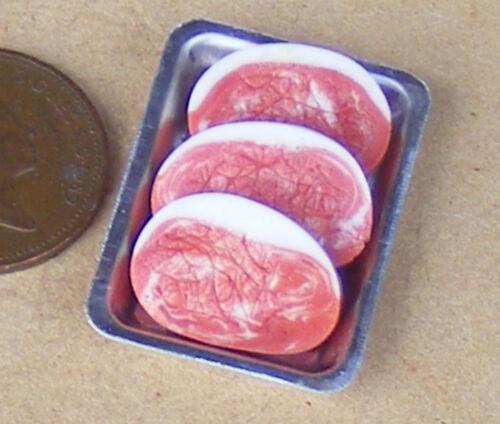 1:12 Scale Pork Steaks On A Metal Tray Tumdee Dolls House Miniature Butcher Meat