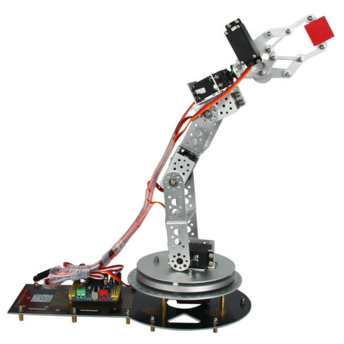 Silver 6 DOF Manipulator Robot Arm Kit Rotating Base Handle Servo Controller