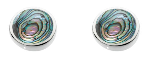Dew 925 Sterling Silver 7mm Round Stud Earrings inlaid with Paua Shell Boxed