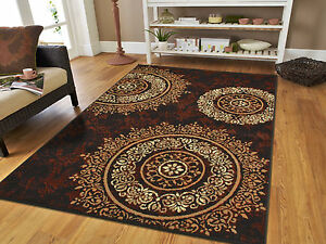 New Area Rugs 8x10 Brown Black Circles Area Rug 5x7