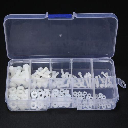 150Pcs White Nylon Hex Screw Bolt Nut Standoff Spacer Kit M2 M2.5 M3 M4 M5 White