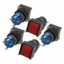 5pcs Red Square Cap Dc12v Light Spdt 5 Terminals Latching Push Button Switch