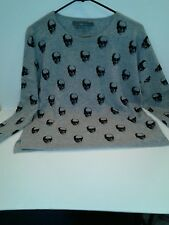 Skull 360 Cashmere Gray Skull Motif Sweater Sz. Medium