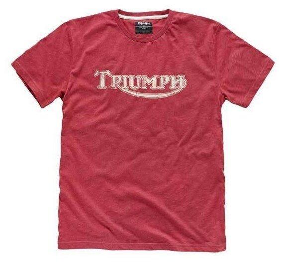 GENUINE TRIUMPH MOTORCYCLE T-SHIRT VINTAGE LOGO RED TEE