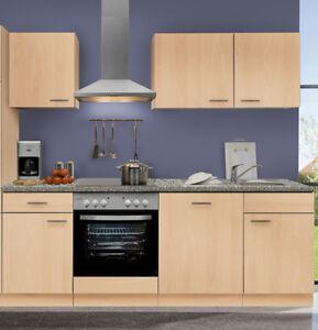 Küche 220 Cm | Kuchenzeile Mankaportable 16 Kuche 220 Cm Kuchenblock In Buche Ohne