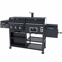 Smoke Hollow 4 In 1 Combo Grill 3 Burner & Bbq Smoker Box Gas And Charcoal