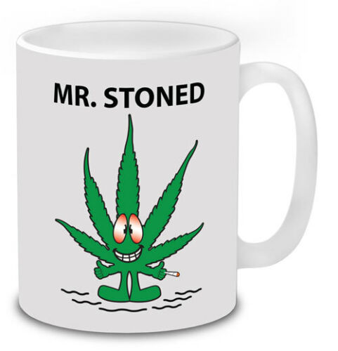 STONED Weed Leaf Mr Men Mugs Gifts Coffee Tea Novelty Cannabis Weed Smokers. MR
