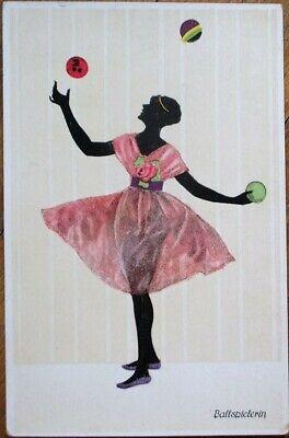 Silhouette 1920 Manni Grosze Art Deco Postcard Woman Juggling Balls Pink Dress Ebay