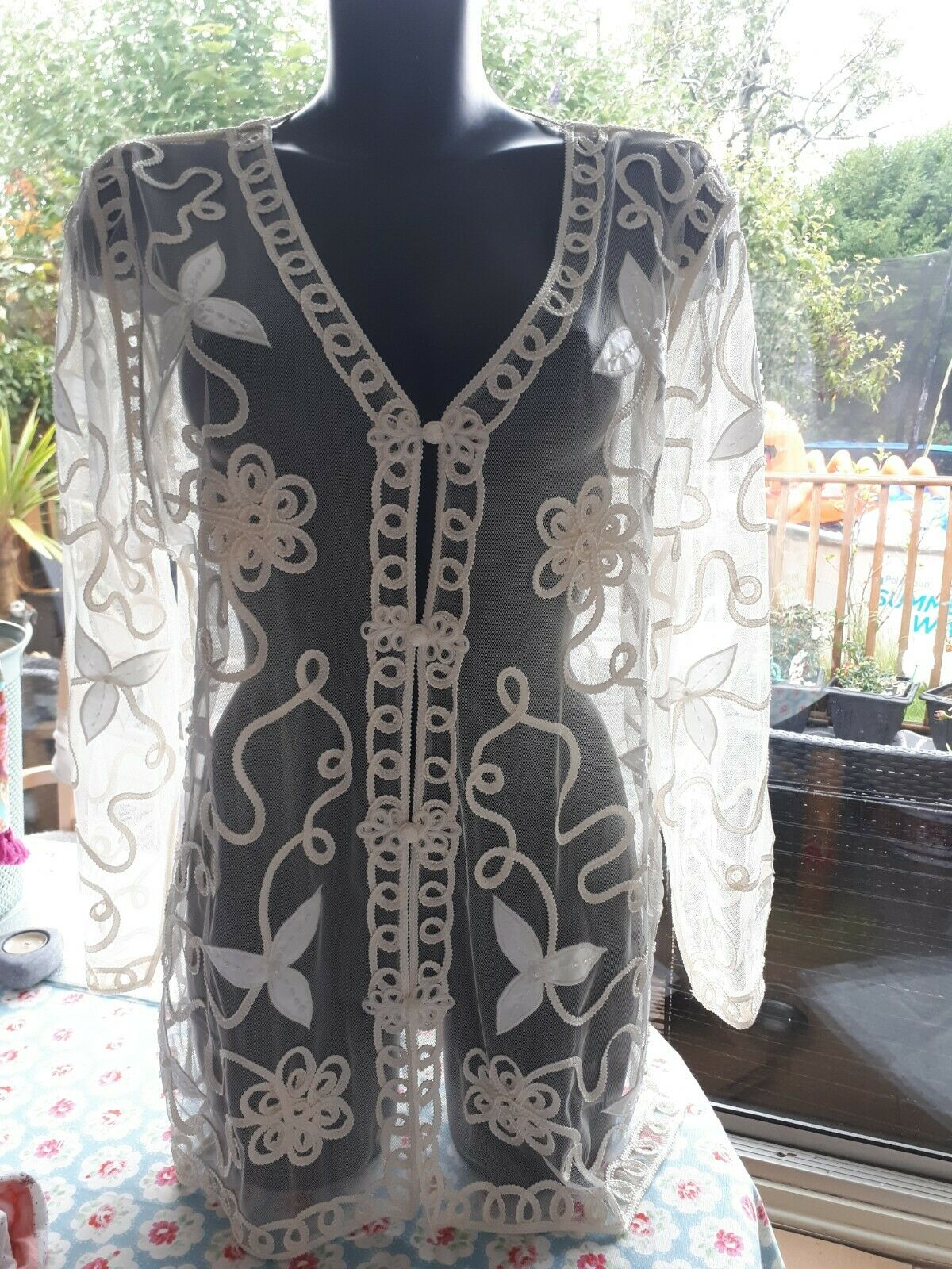 Beautiful ladies ivory coloured jacket embroidered and pearl/ wedding/ large